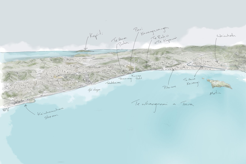 N2 P 002 Main settlements and natural features along Te Ara Tupua